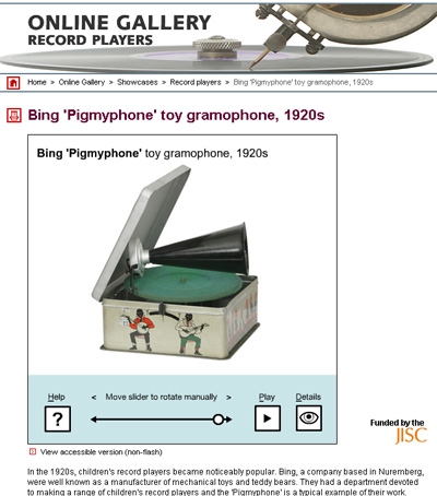 Screenshot of Bing Pigmyphone toy gramophone, 1920s from Archival Sound Recordings website