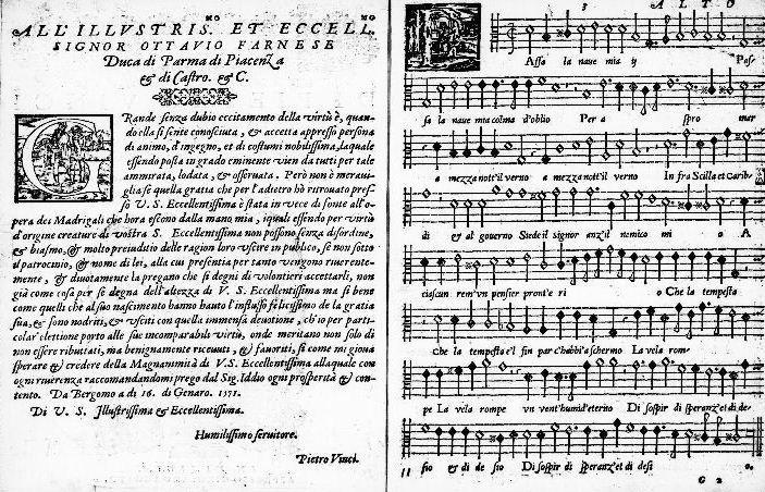 Excerpt from Il primo libro de madrigali a sei voci, 1571